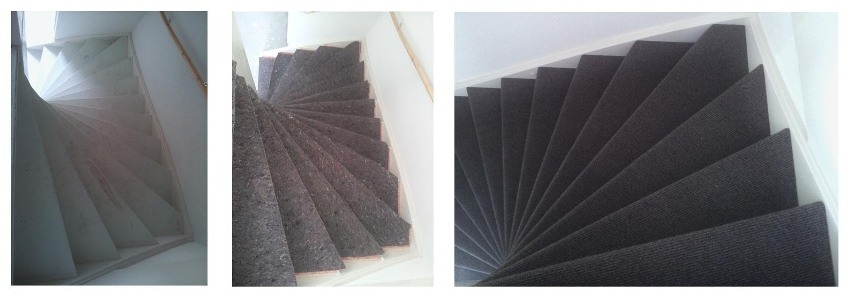 trap gestoffeerd met tapijt op ondertapijt